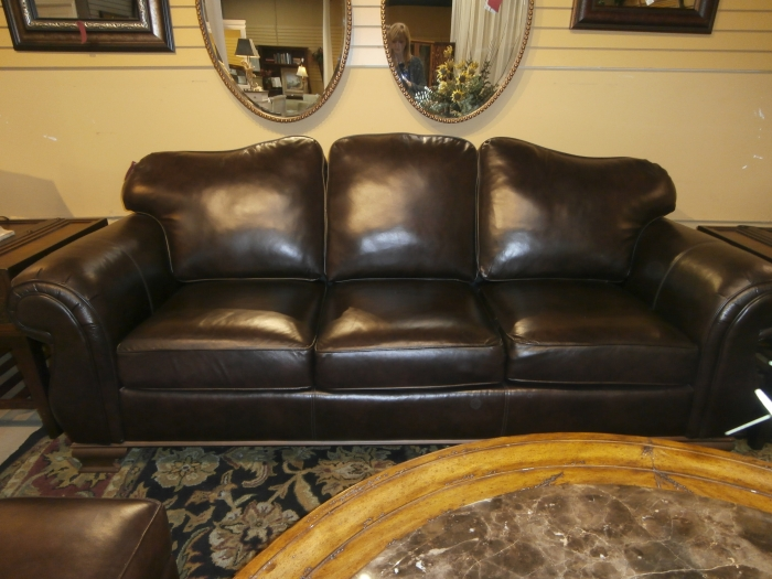 Smith Bros Leather Sofa Amp Ottoman At The Missing Piece