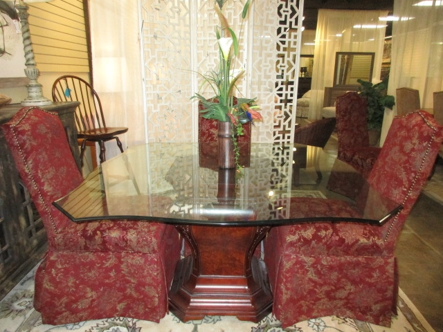 Glass Table W 6 Parsons Chairs At The, Skirted Parsons Chairs Dining Room Furniture