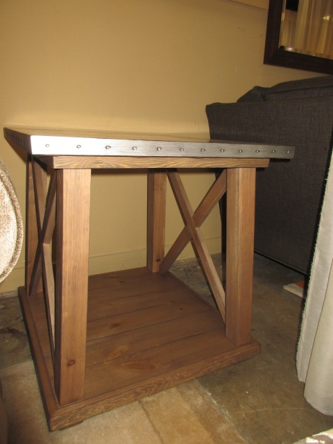 Home; Rustic Tin Top End Table. LOADING IMAGES