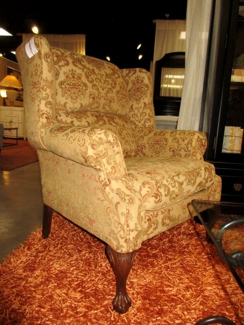 Patterned Wingback Chair At The Missing Piece