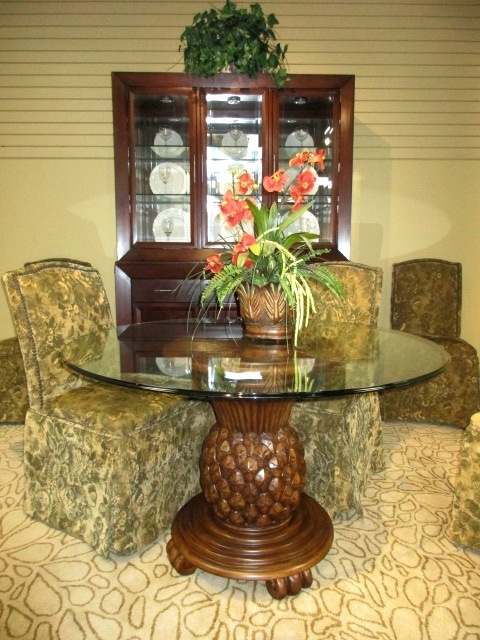 Glass Top Pineapple Base At The Missing, Pineapple Dining Room Set