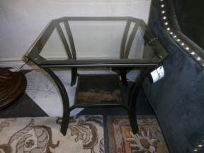 glass and metal end table at the missing piece. Black Bedroom Furniture Sets. Home Design Ideas