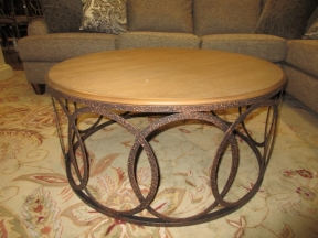 Wood Coffee Table/Iron Ring Base