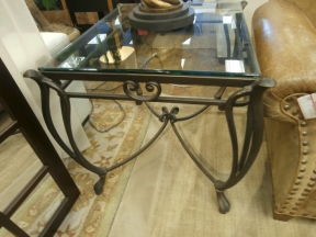Glass & Iron End Table