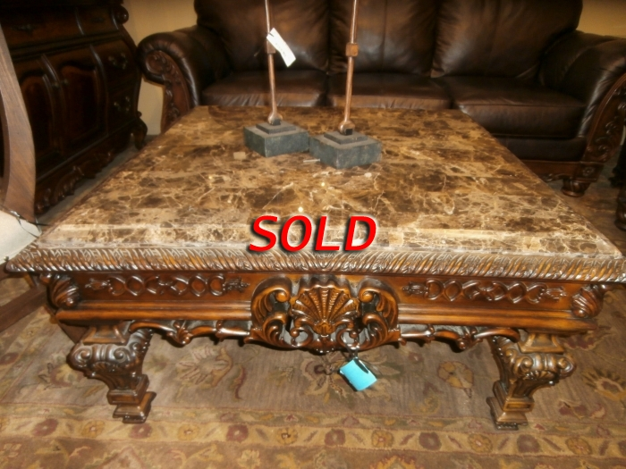 Carved Wood Coffee Table At The Missing Piece - Casa Mollino Sofa Table