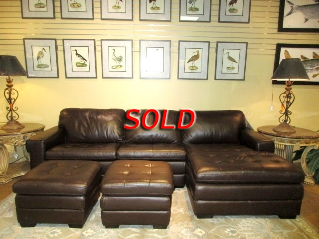 Strange Havertys Leather Sectional W Ottoman At The Missing Piece Machost Co Dining Chair Design Ideas Machostcouk